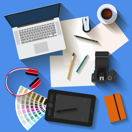 usual: Everyday objects in trendy flat style with long shadow. Most popular things used in life of modern people isolated on stylish bright blue background for use in design for card, poster, banner cover