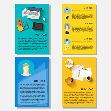 actual: Business time theme. Bright backgrounds collection with everyday life electronic objects in trendy flat style with long shadow isolated on stylish cover for design card, poster, placard, brochures. Illustration