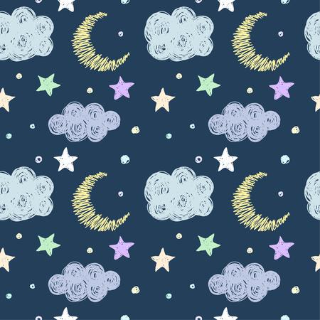 noche y luna: Doodle buena noche sin fisuras patr�n plantilla de fondo con las estrellas, la luna y las nubes. Dibujado a mano cubierta gr�fico simple para el dise�o. Divertidos dibujos animados en colores pastel suave de color ilustraci�n.