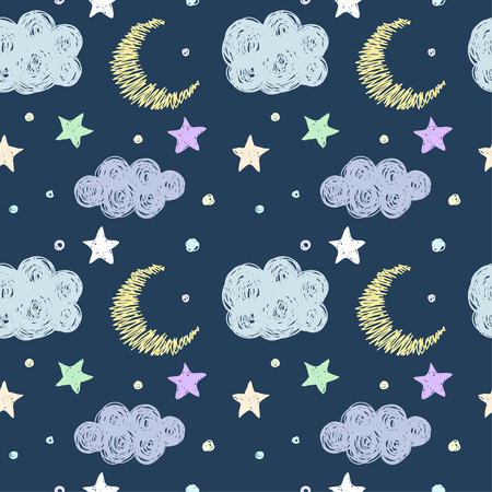 Doodle good night seamless pattern background template with stars, moon and clouds. Hand drawn simple graphic cover for design. Funny cartoon soft pastel colored illustration. 向量圖像