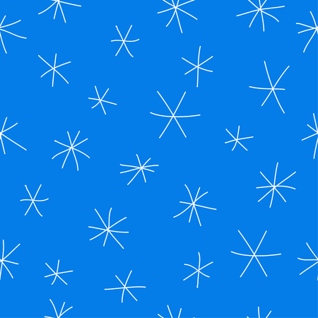 drown: Hand drown doodle seamless pattern background with simple snowflakes isolated on bright blue cover Illustration
