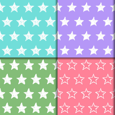 sihlouette: Doodle stars seamless pattern collection. Hand drawn set with simple graphic elements isolated on stylish background. Bright template for use in design