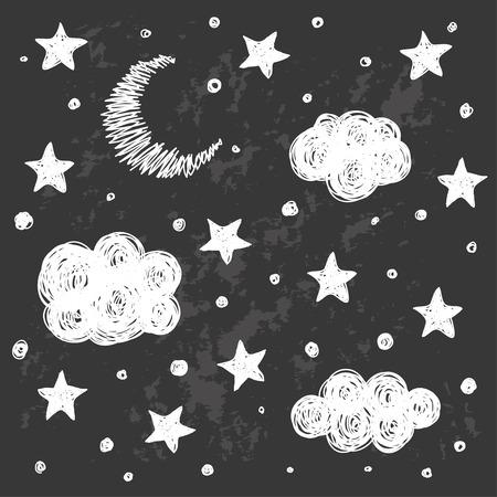 buonanotte: Doodle buon modello di sfondo carta notte con le stelle, la luna e le nuvole. Disegno a mano semplice copertina in bianco e nero per la progettazione grafica. Divertente cartone animato in bianco e nero illustrazione. Vettoriali