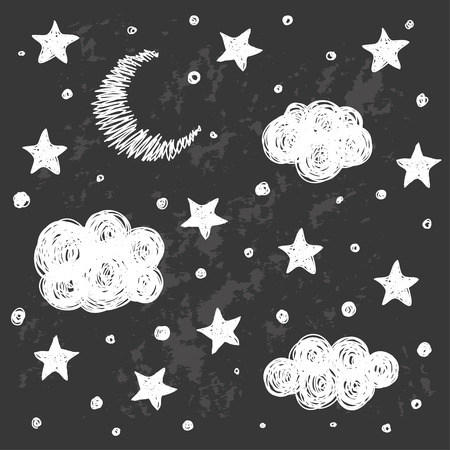 night sky: Doodle good night card background template with stars, moon and clouds. Hand drawn simple graphic black and white cover for design. Funny cartoon monochrome illustration.