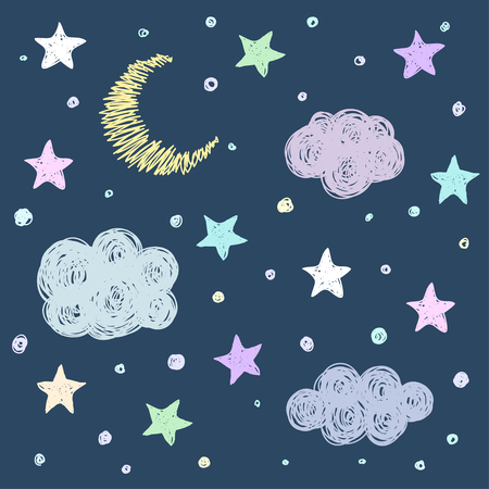buonanotte: Doodle buon modello di sfondo carta notte con le stelle, la luna e le nuvole. Disegno a mano semplice veste grafica per il design. Divertente fumetto illustrazione. Vettoriali