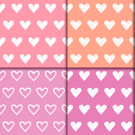sihlouette: Doodle hearts seamless pattern collection. Hand drawn romantic love decorative cartoon set with simple graphic elements isolated on stylish background. Template for design for wedding or valentine day