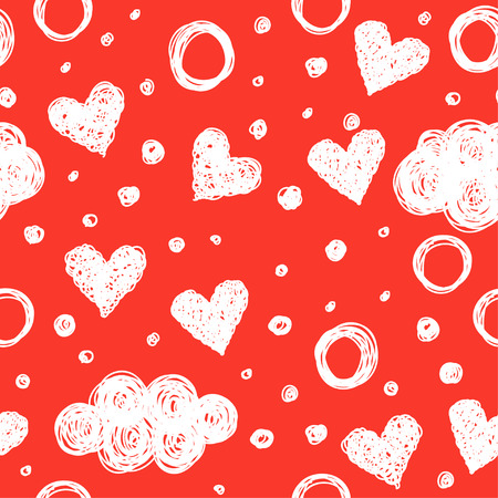elegant couple: Doodle romantic love seamless pattern background. Hand drawn simple graphic bright illustration for use in design.
