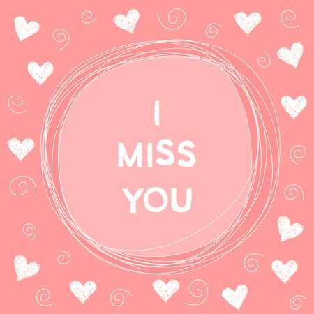 i miss you: Doodle romantic card background template with hearts. Hand drawn simple graphic cover for use in design. I miss you.