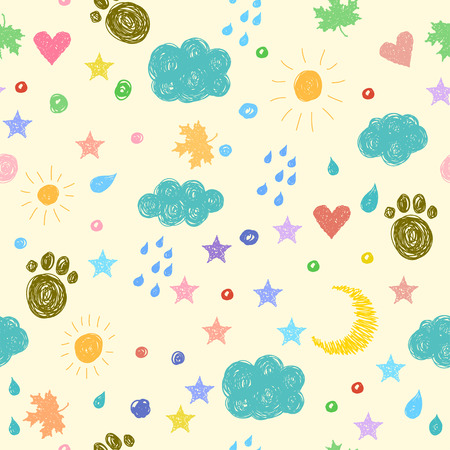 fanny: Doodle seamless pattern background with hand drawn funny elements. Simple graphic fanny cartoon cover for use in design. Illustration
