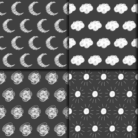 improvisation: Simple doodle seamless pattern backgrounds set with moon, clouds, sun isolated on dark. Funny hand drawn collection for use in design.