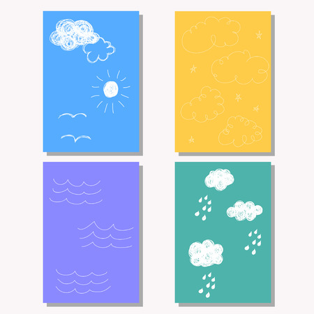pocketbook: Hand drawn doodle childish backgrounds collection with simple shapes for design card, book, exercise book, copy book, diary, journal, placard, brochures, notebook, pocketbook, album, sketch book cover