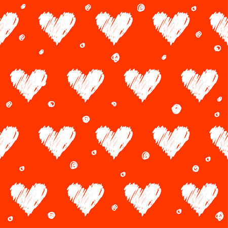 love concepts: Doodle romantic love seamless pattern background. Hand drawn simple graphic bright illustration for use in design.