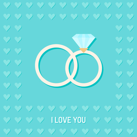 mirth: wedding romantic decorative background with cartoon rings and hearts isolated on stylish background for use in design for card, invitation, poster, banner, placard, billboard cover