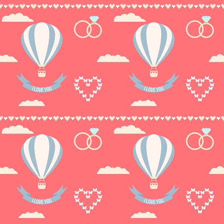 mirth: wedding seamless romantic decorative pattern background with cartoon hearts and hot air balloons isolated on stylish background for use in design for card, invitation, poster, placard cover