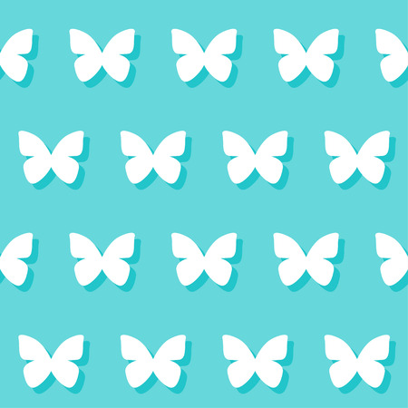 wedding romantic decorative seamless pattern background with cartoon butterfly isolated on stylish blue background