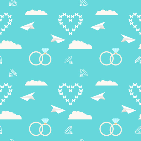 mirth: wedding seamless romantic decorative pattern background with cartoon elements isolated on stylish blue background for use in design for card, invitation, poster, placard cover Illustration