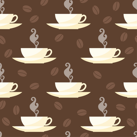 cover background time: Coffee time theme. Seamless patten background with cups isolated on brown cover for use in design for card, invitation, poster, banner, placard, menu or billboard cover Illustration