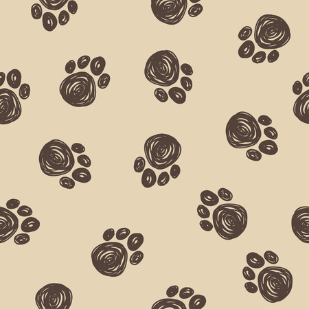 sihlouette: Doodle dog tracks seamless pattern background. Hand drawn elements isolated on beige background for use in design Illustration