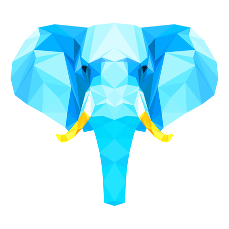 enormous: Abstract polygonal geometric triangle bright blue elephant portrait isolated on white background for use in design for card, invitation, poster, banner, placard or billboard cover
