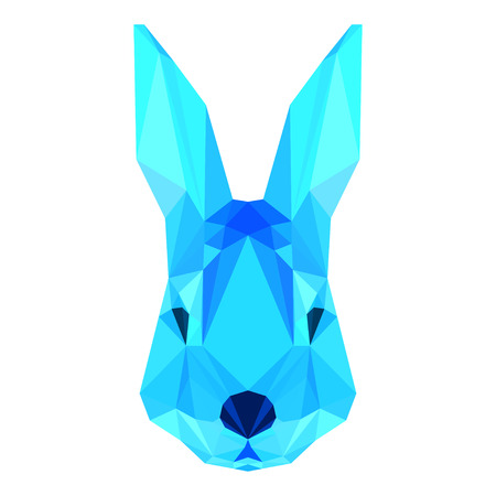 coward: Abstract polygonal geometric triangle bright blue rabbit portrait isolated on white background for use in design Illustration