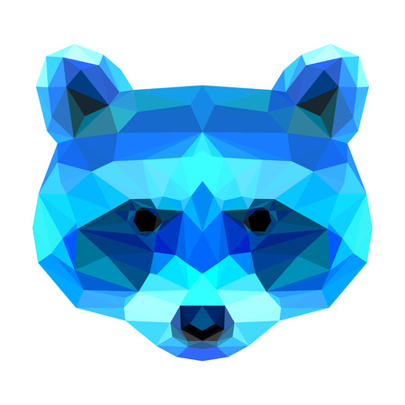 Abstract polygonal geometric triangle bright raccoon portrait isolated on white background for use in design