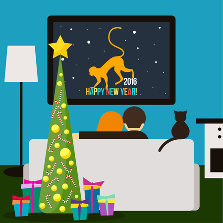 tv screen: couple and cat watching television sitting on the couch in the room. Happy New Year funny cartoon card template for use in design for card, invitation, poster, placard, banner cover