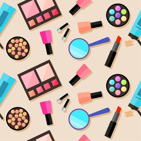productos de belleza: sin problemas de fondo cosmética. estilo plano de moda. productos brillantes aislados en la cubierta de color beige con estilo para el uso en el diseño Vectores