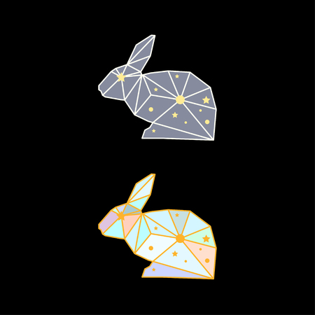 Abstract Polygonal Rabbit Isolated On Black Background Side