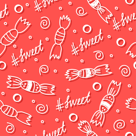 improvisation: Hand drawn doodle sweets seamless pattern background. Abstract simple handmade shapes isolated on stylish red cover for use in design Illustration