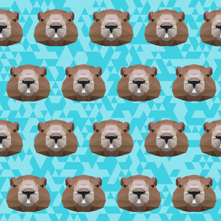Groundhog abstract polygonal portrait seamless pattern background