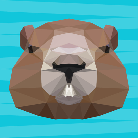 Groundhog abstract polygonal portrait