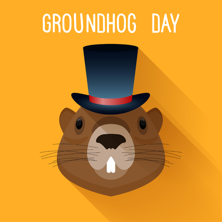 Groundhog in hat. Graundhog day funny cartoon card template.