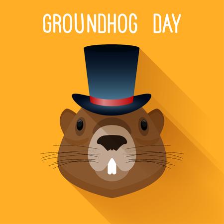 Groundhog in hat. Graundhog day funny cartoon card template. Illustration