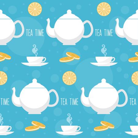 afternoon: Tea time seamless pattern background Illustration