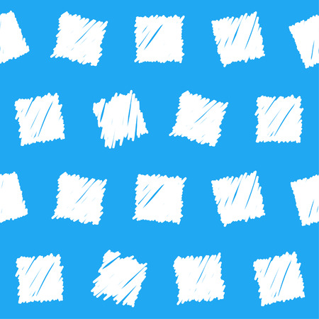 sihlouette: Doodle seamless squares pattern background. Hand drawn simple graphic geometric white  elements isolated on blue background for use in design