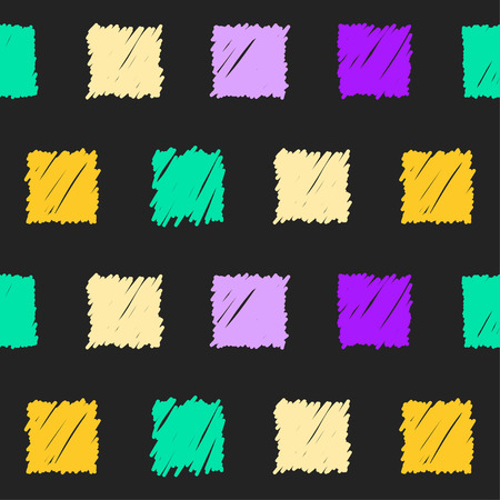 sihlouette: Doodle seamless squares pattern background. Hand drawn simple graphic geometric bright  elements isolated on black background for use in design