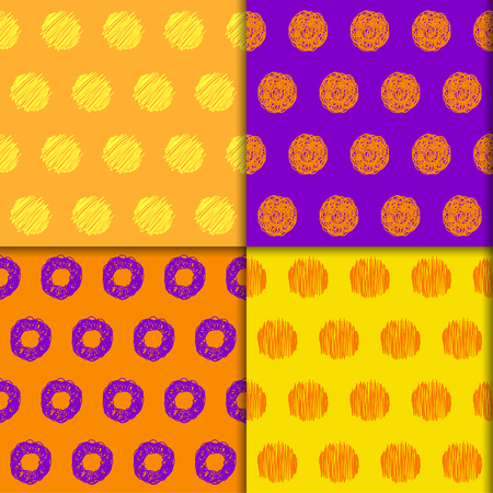 sihlouette: Doodle seamless pattern collection. Hand drawn halloween colored set with simple graphic geometric elements isolated on bright background for use in design
