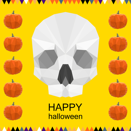 wizardry: halloween card background with abstract polygonal skull and pumpkins for use in design for design card, invitation, poster, banner, placard, billboard cover Illustration
