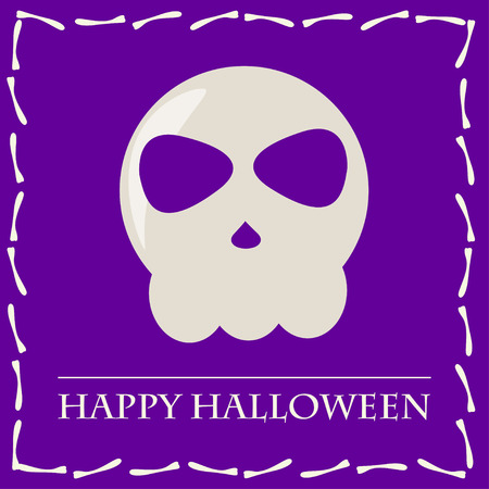 wizardry: halloween card background with skull isolated on purple background for use in design for design card, invitation, poster, banner, placard, billboard cover