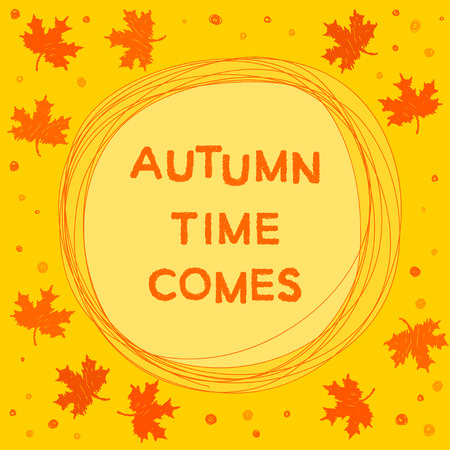 improvisation: autumn time theme. Bright funny card template for use in design Illustration