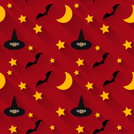 wizardry: halloween seamless pattern background with cartoon hats, bats and stars isolated on dark red background