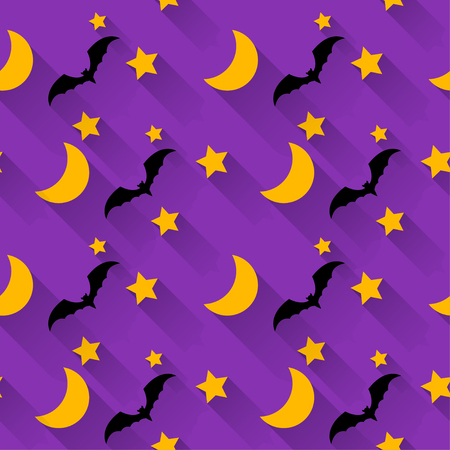 wizardry: halloween seamless pattern background with cartoon moon, stars and bats isolated on bright purple background