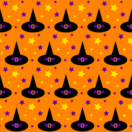 halloween seamless pattern background with cartoon hats and stars isolated on bright orange background Illustration