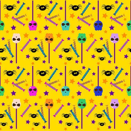 wizardry: halloween seamless pattern background with cartoon sweets and spiders isolated on bright orange background