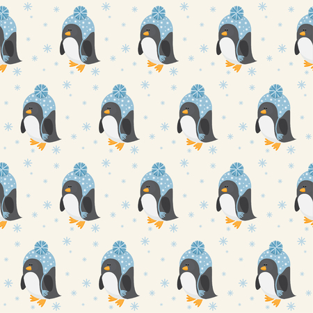 background antarctica: Funny cartoon penguin seamless pattern background Illustration