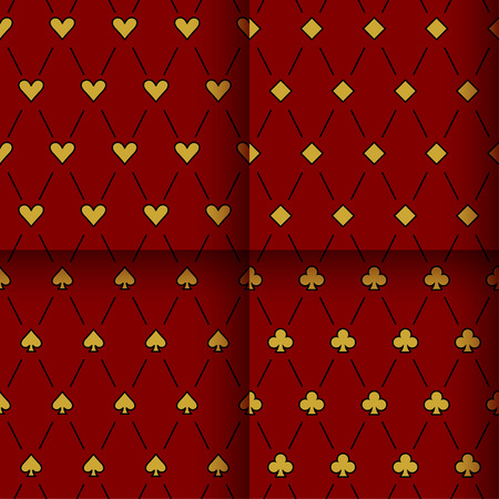 clubs diamonds: Abstract card suits backgrounds set. Clubs, diamonds. hearts and spades isolated on dark red stylish cover for use in design.