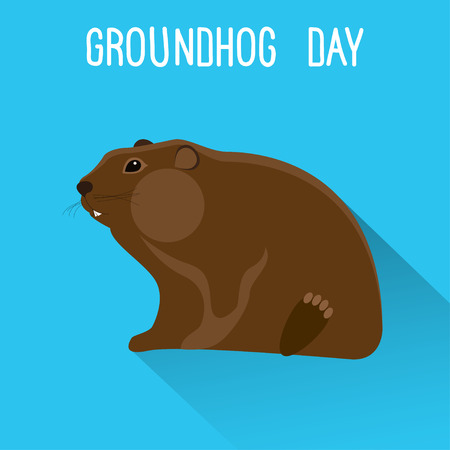whistling: Groundhog day card template.