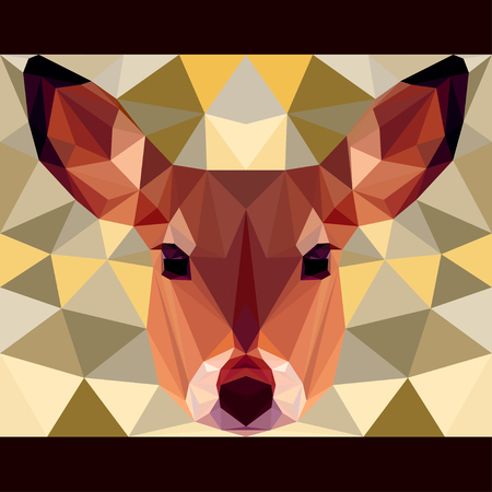 gaze: Deer stares forward. Nature and animals life theme background. Abstract geometric polygonal triangle illustration for design card, invitation, poster, banner, placard, billboard cover Illustration