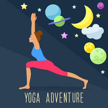 Yoga adventure theme. Trendy flat style. Template for use in design for card, invitation, poster, banner, placard, diary, brochures, notebook, album, sketch book cover