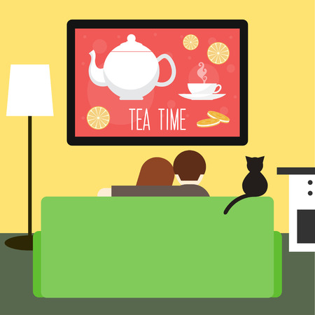 couple and cat watching television on the couch in the room 矢量图像